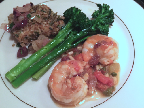 new years eve 2015 swordfish and shrimp with broccoli rabe-1
