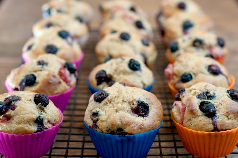 strawberry-blueberry-muffins