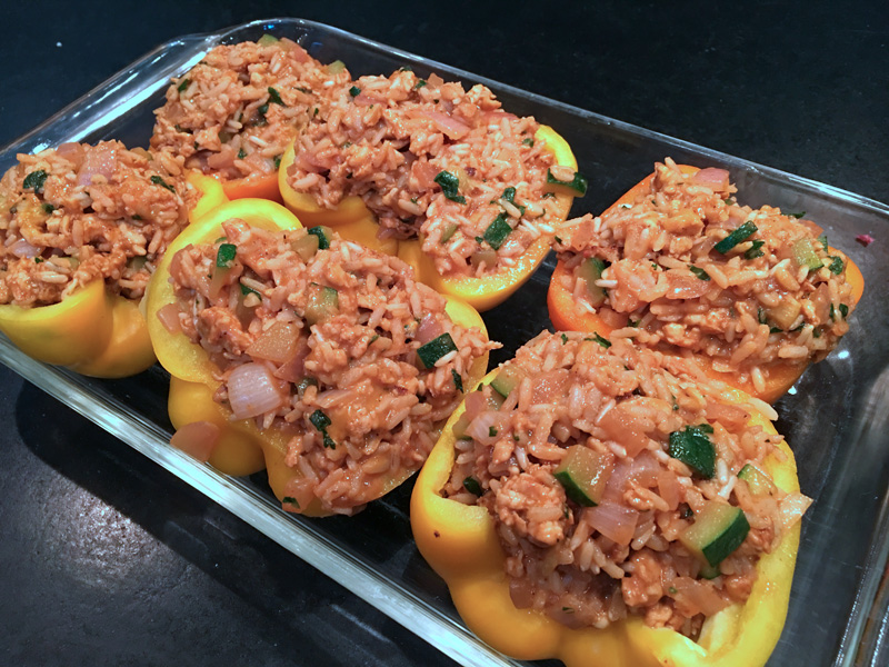 Peppers Stuffed with Chicken Chorizo