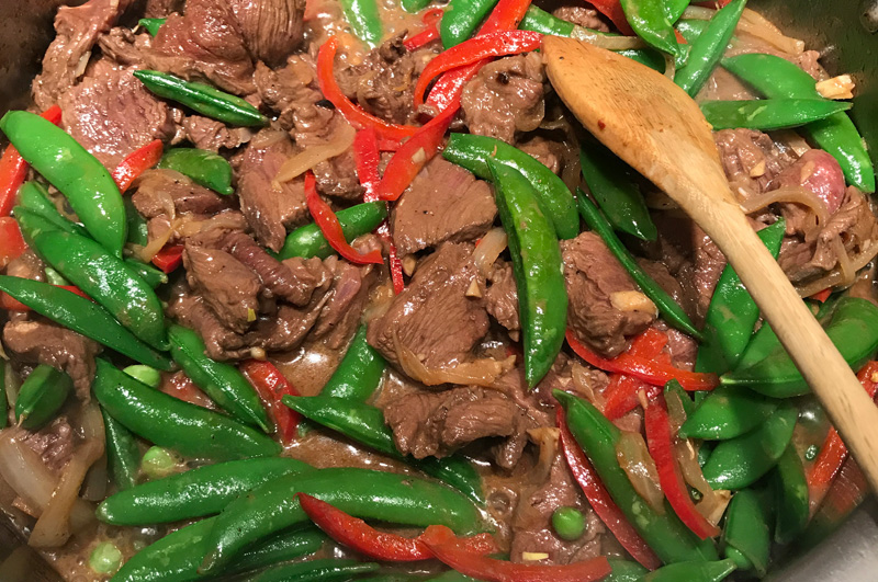 Beef with Sugar Snap Peas and Peppers