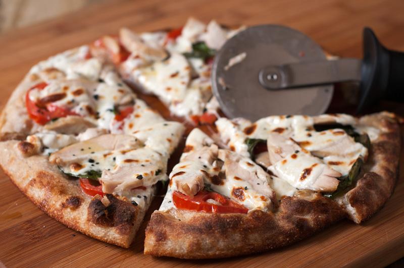 Sourdough Skillet Pizza with Chicken, Basil, Tomatoes and Mozzarella