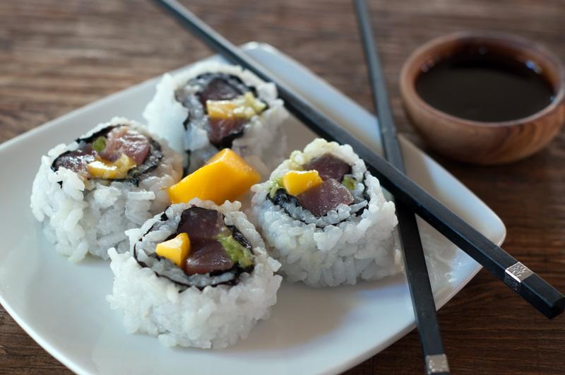 Sushi Rolls with Tuna, Avocado and Mango