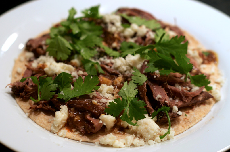 Baked Quesadilla with Chile-Rhubarb Braised Bison (or Beef)