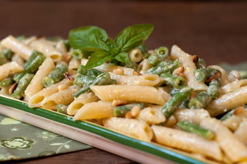 Lemony Green Bean Pasta Salad with Basil Pine Nut Dressing