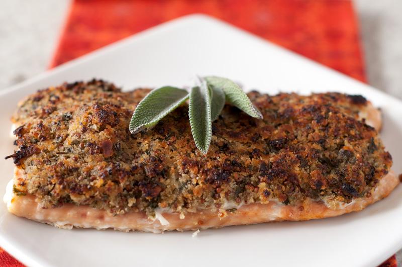 Salmon with Lemon Parsley Mustard Crumbs