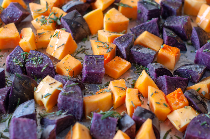Pumpkin, Purple Potatoes and Pears