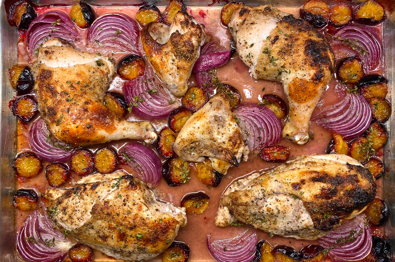 Sheet Pan Chicken with Plums and Red Onion