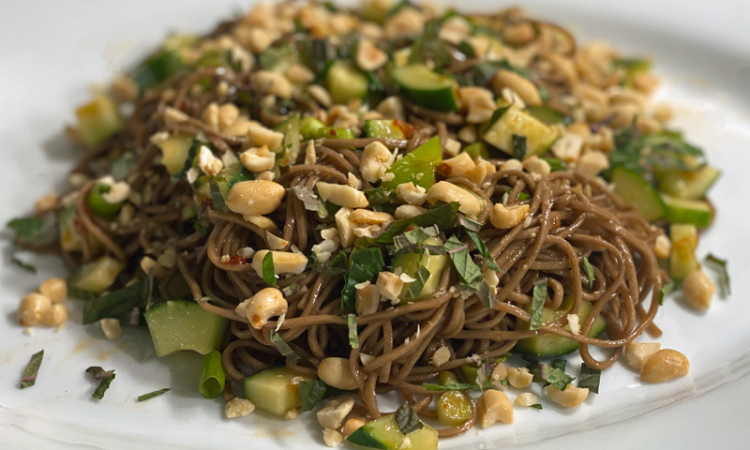 Cold Spicy Soba Noodle Salad with Cucumbers
