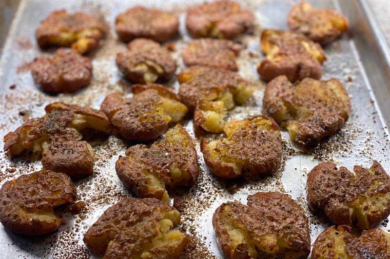 Crispy Soft Smashed Potatoes