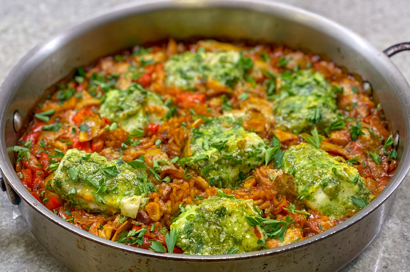 Oven Baked Paella with Halibut