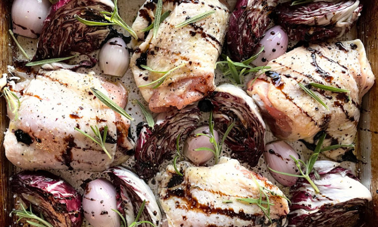 Sheet Pan Chicken Thighs and Radicchio with Shallots, Balsamic and Rosemary