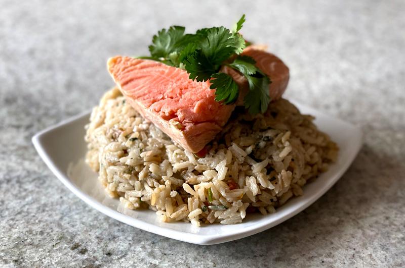 Coconut-Jalapeno Rice with Salmon